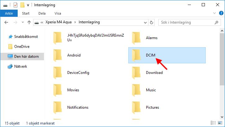 Android - DCIM - Föra över bilder till datorn - PC - Windows