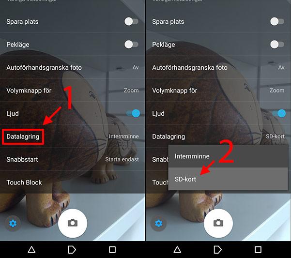 Android - Spara bilder - Filmer - På SD-kort