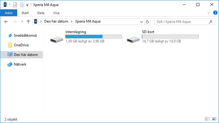 Android - Windows - PC- Koppla - Internlagring - SD-kort