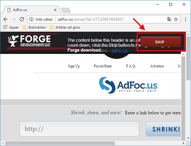 Installera Forge - Reklam - Skip