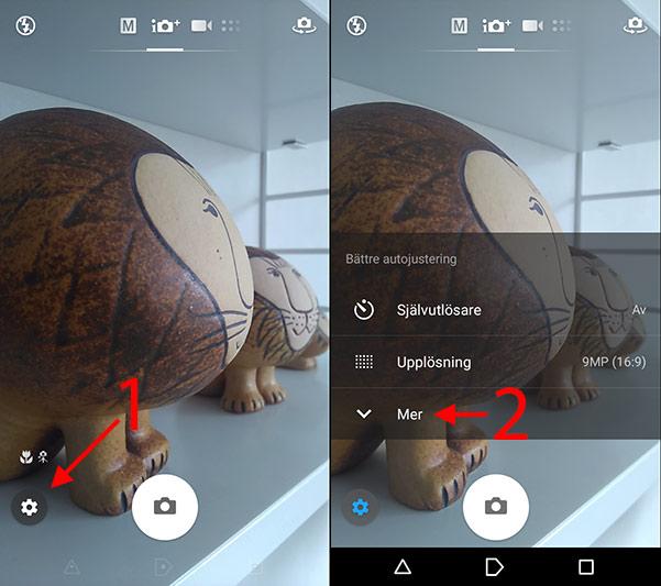 Kamera-appen - Android - Inställningar - Mer - Välj bilder