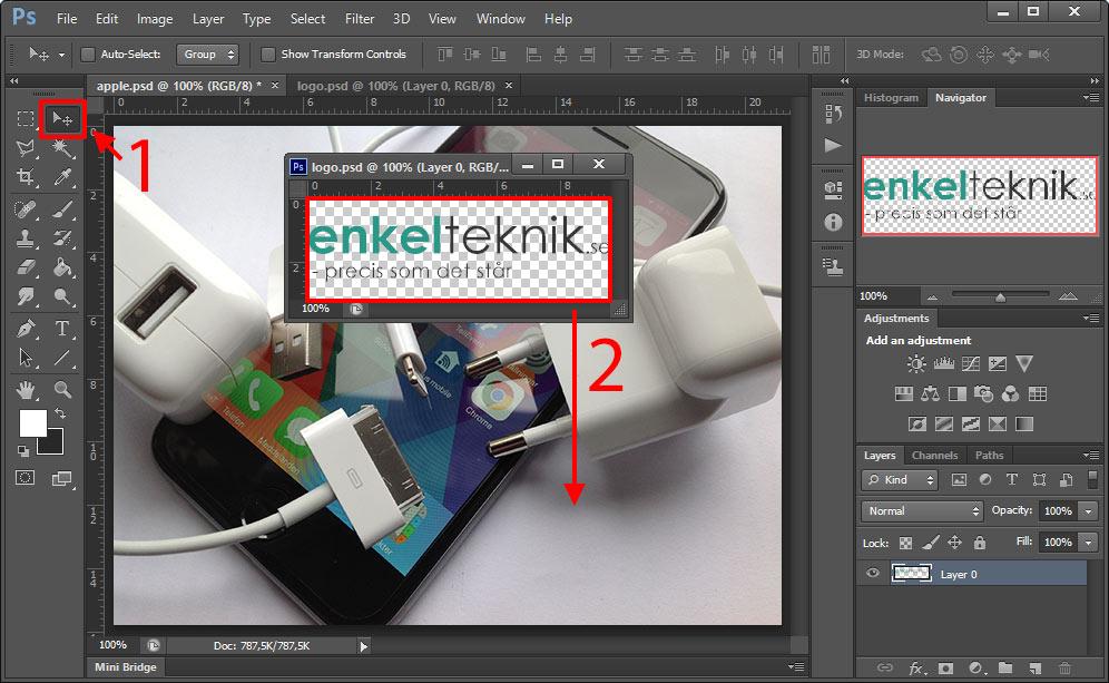 Photoshop - Dra - Flytta - Lager till ett annat dokument - Annan bild