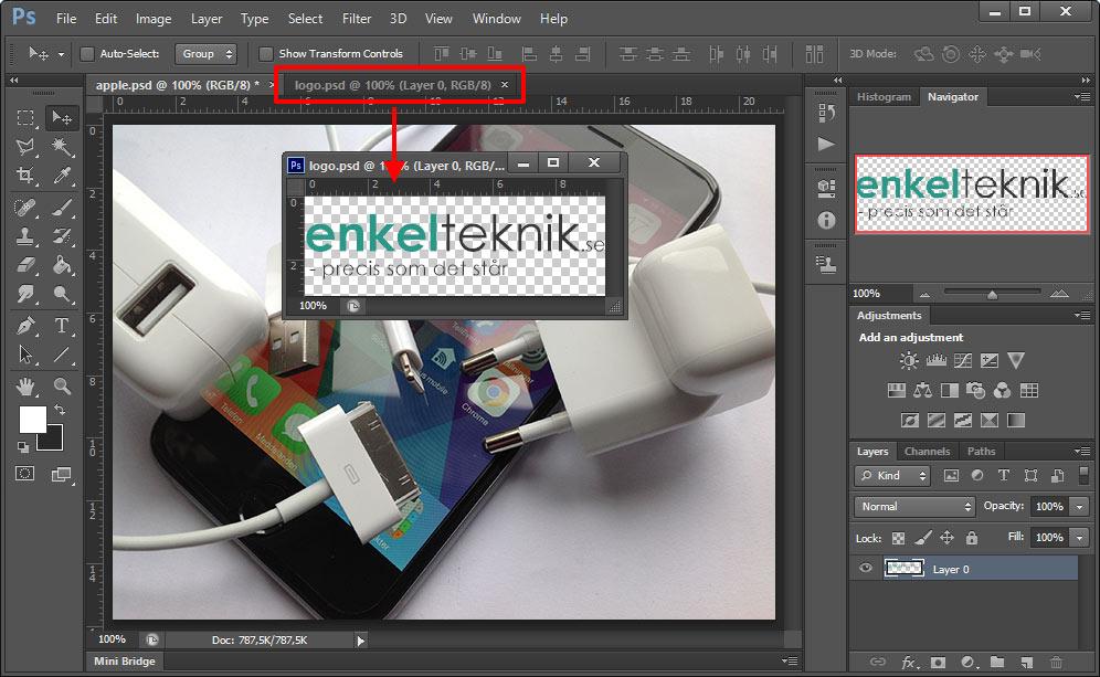 Photoshop - Dra lager nedåt - Se båda lager samtidigt