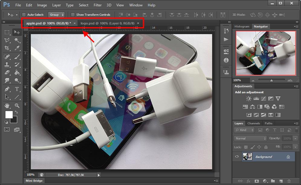 Photoshop - Öppna de dokument - Bilder du vill flytta lager mellan