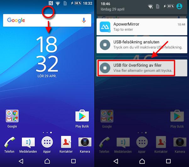 USB för överföring av filer - Android - PC - Windows - Välj