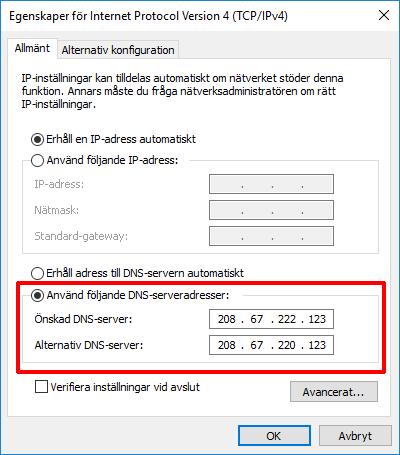 Använd följande DNS-serveradresser - Spärra webbsidor