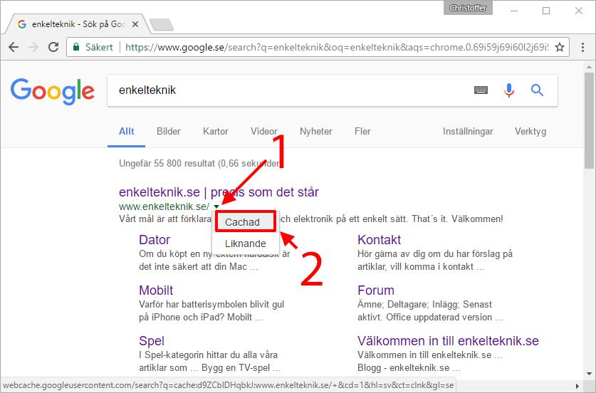 Google Cache Cachad webbsida - Hemsida