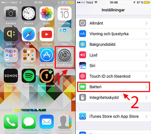 iPhone - iPad - Batteri - Gul - Inställningar - Batteri