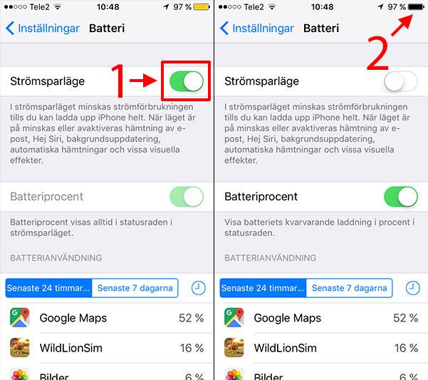 iPhone - iPad - Batteriikon - Batterisymbol - Gul - Strömsparläge - Stäng av
