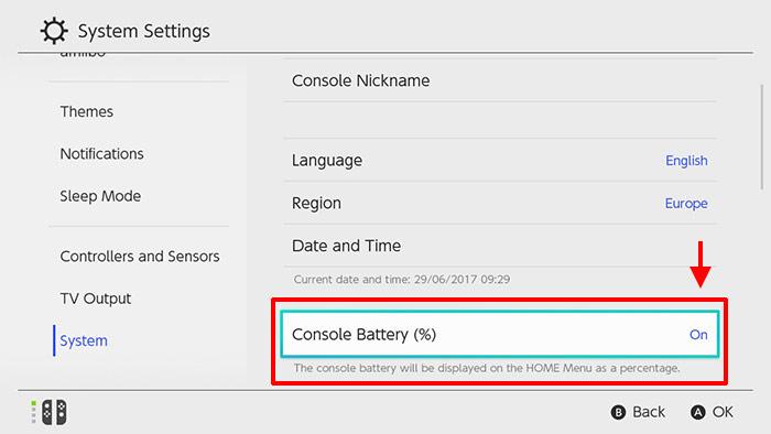 Nintendo Switch - Console Batteri - Visa batteri-procent