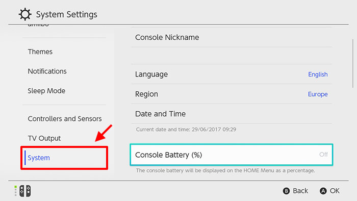 Nintendo Switch - System Settings - Batteri
