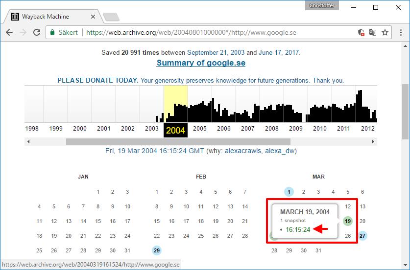 Se gammal version av sajt - Välj datum