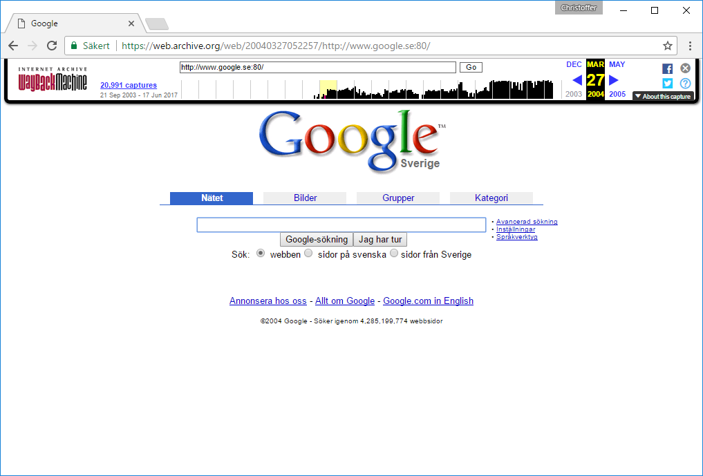 Se gammal version - hemsida - webbsida - sajt - Google 2014