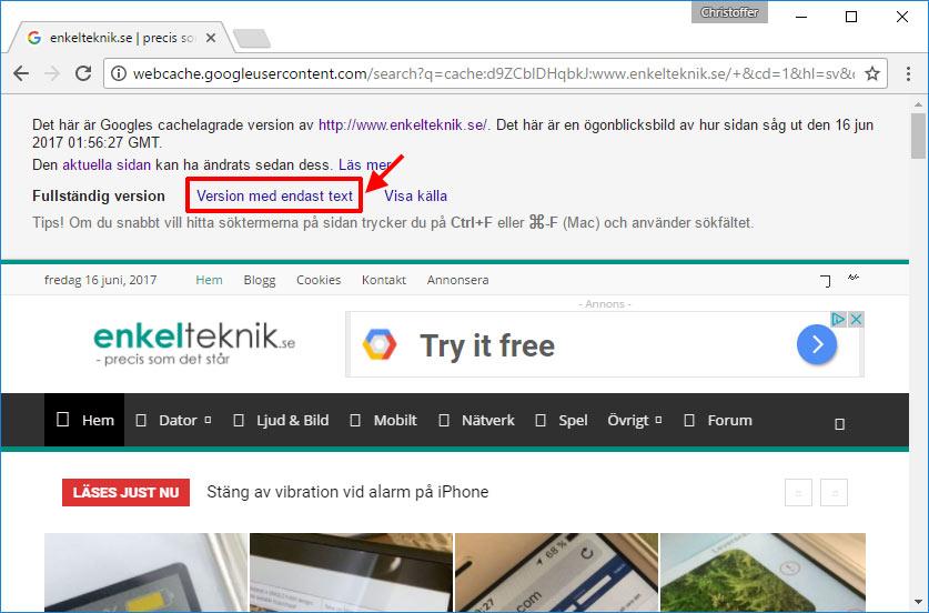 Se hemsida som ligger nere - Google - Cachad - Cache