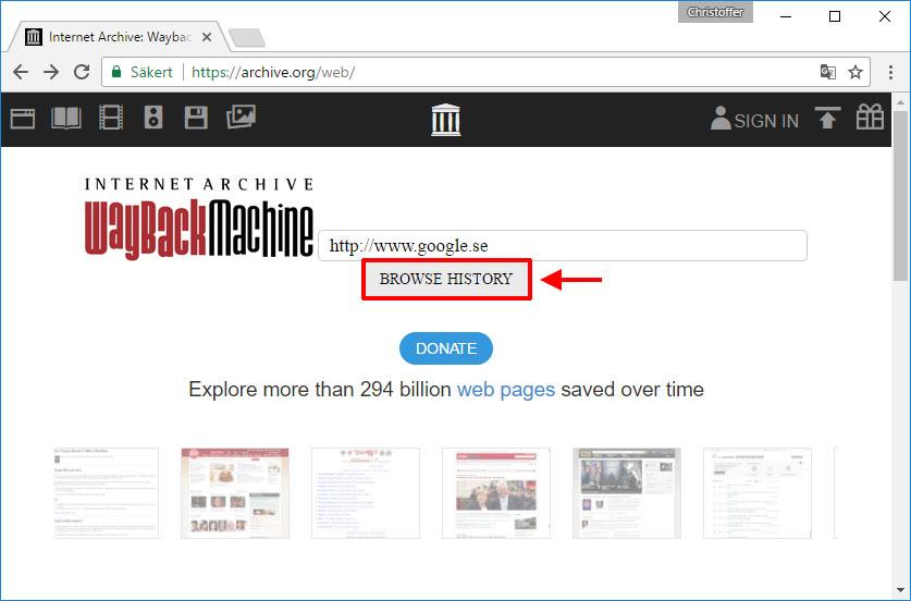 Wayback Machine - Se äldre version av webbsida - hemsida