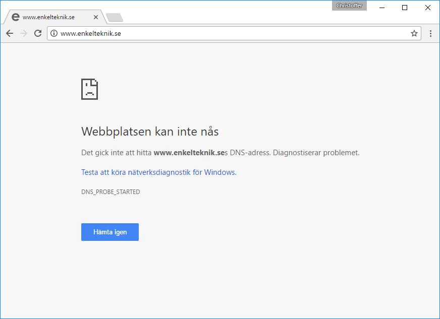 Webbplatsen kan inte nås - Se gammal - tidigare - version av hemsida - sajt