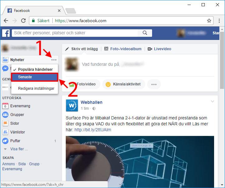 Facebook - Nyheter - Senaste - Ändra ordning - Kronologisk