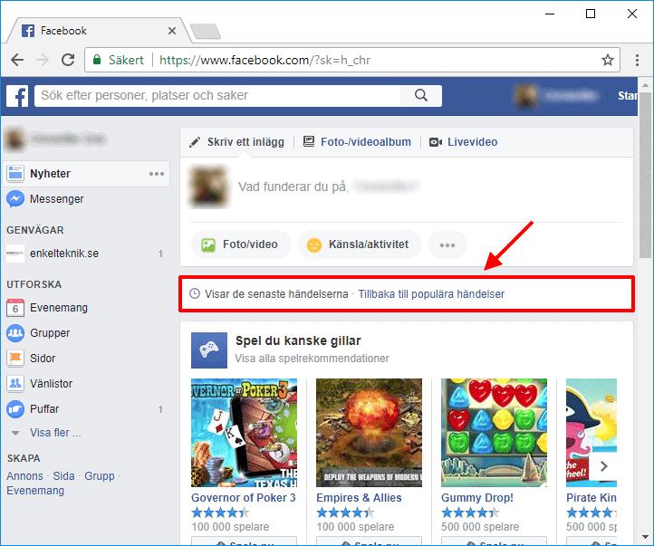 Facebook - Visar de senaste händelserna - Populära händelser