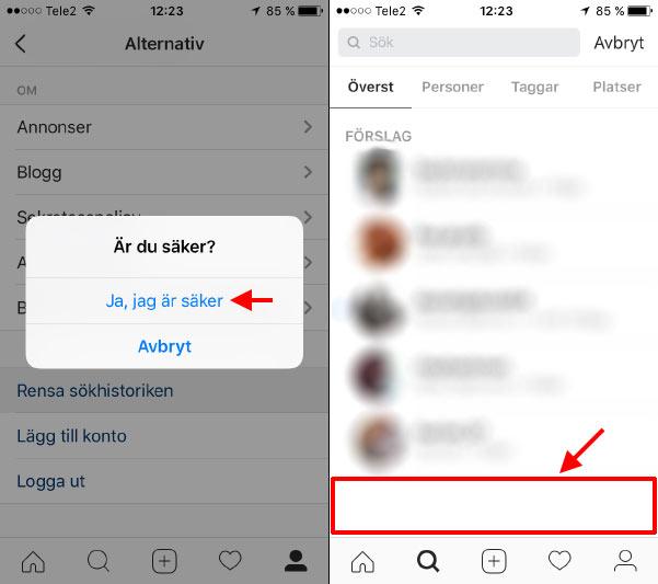 Instagram - Sökningar raderade - borttagna