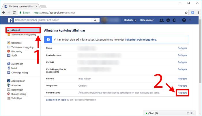 Facebook - Hantera konto - Inaktivera Radera konto