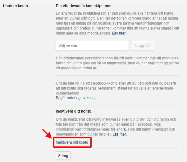 Facebook - Inaktivera - Stäng av konto