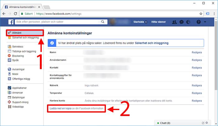 Facebook - Allmänt - Ladda ned en kopia av din Facebook-information