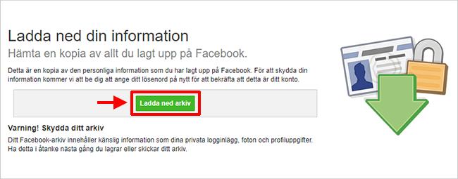 Facebook - Ladda ner arkiv av hela din Facebook-profil
