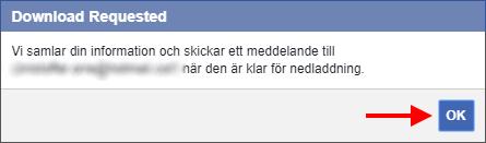 Facebook - Spara - Kopiera all information från ditt konto