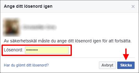 Ladda ner information - Ange lösenord - Facebook