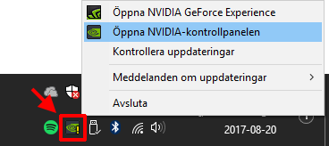 Öppna Nvidia kontrollpanelen - Högerklicka