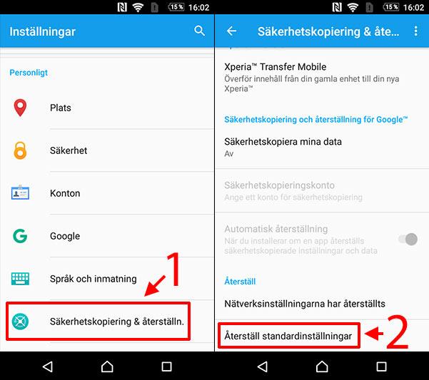 Android - Återställ till standardinställningar