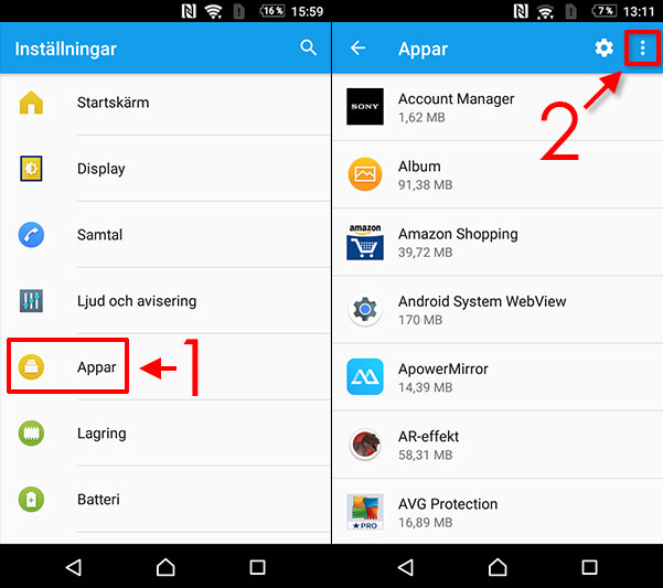 Android - Processen com.android.phone stoppats - Radera cache-minne