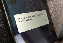Processen com.android.phone har dessvärre stoppats - Felmeddelande