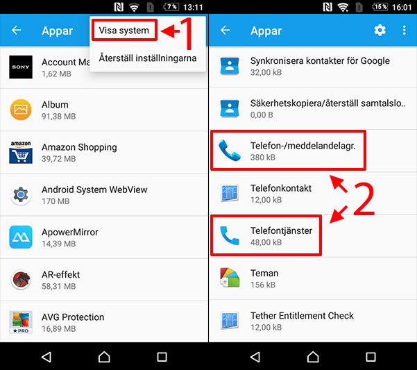 Processen com.android.phone stoppats - System - Appar