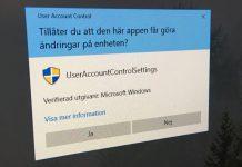 Stäng av UAC - Tillåter du att den här appen får göra ändringar på enheten