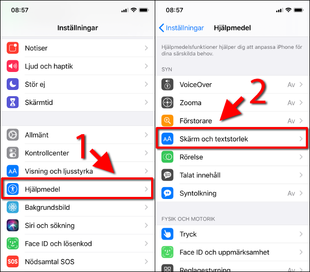 iPhone - Invertera - Hjälpmedel - Skärm och textstorlek