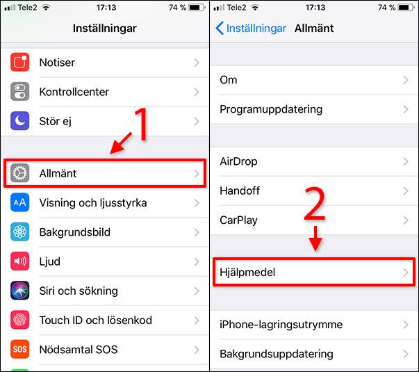 iPhone - iPad - Allmänt - Hjälpmedel - Invertera färger