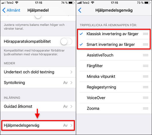iPhone - iPad - Hjälpmedelsgenväg - Invertering av färger