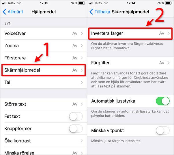 iPhone - iPad - Skärmhjälpmedel - Invertera färger