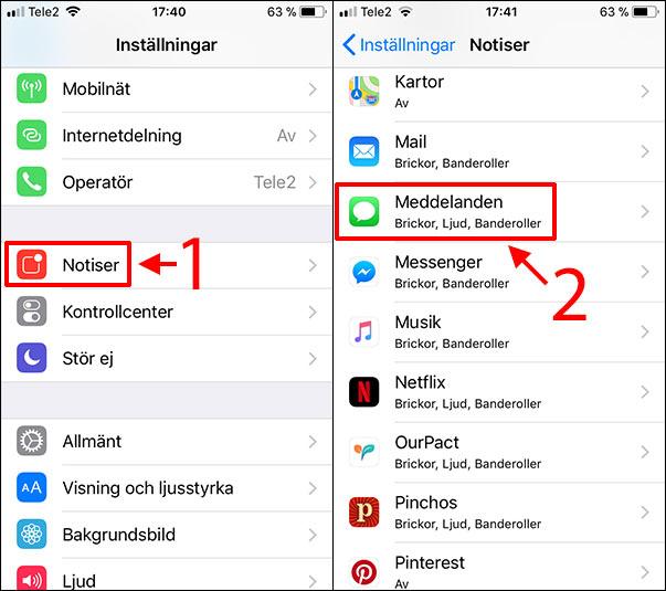 iPhone - Meddelande - Notiser - Meddelanden - Påminnelser