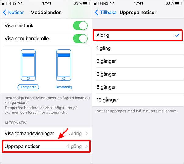 iPhone - Upprepa notiser - Meddelanden - Aldrig - Ta bort