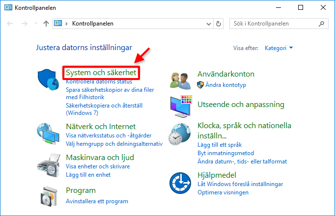 Kontrollpanelen - System och Säkerhet - UAC - Windows