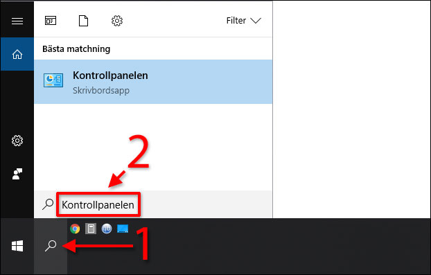 Start - Kontrollpanelen - Stäng av UAC - Windows 10