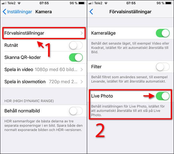 iPhone - Stäng av Live Photo Foto - Förvalsinställningar