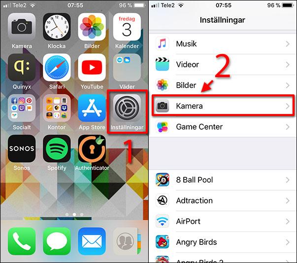 Stäng av Live Foto - iPhone - Inställningar - Kamera