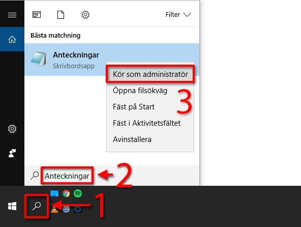 Anteckningar - Kör som administratör - HOSTS - Windows