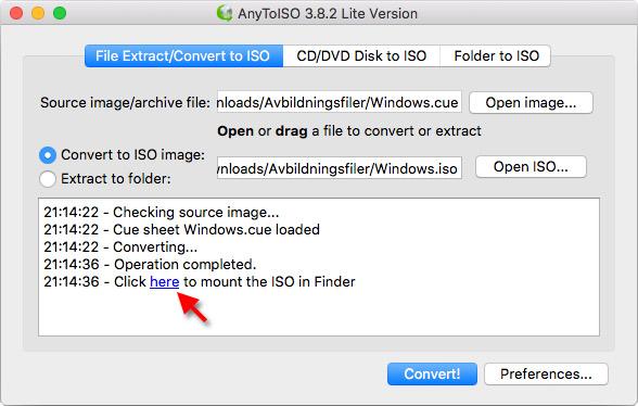 AnyToISO - Mac - Konvertera till ISO - Montera