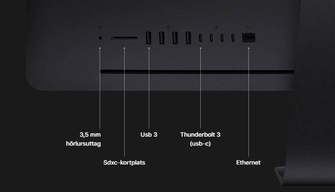 iMac Pro - Utgångar - Ingångar - IO - Baksida