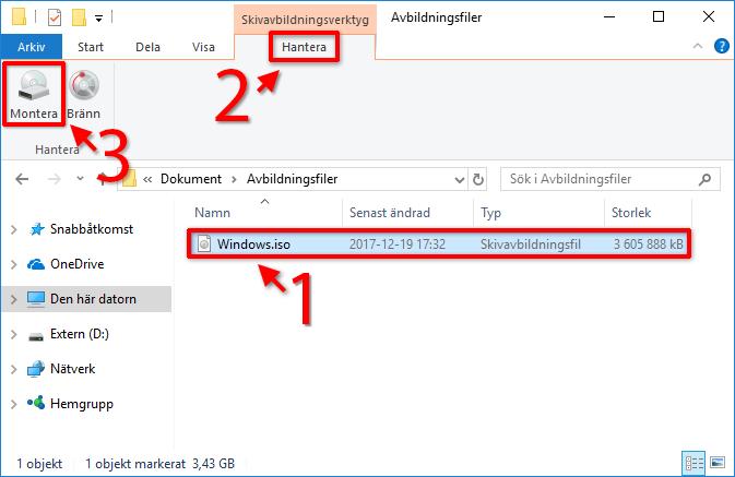 ISO - IMG - NRG - CUE - BIN - Windows 10 - Montera - Använd