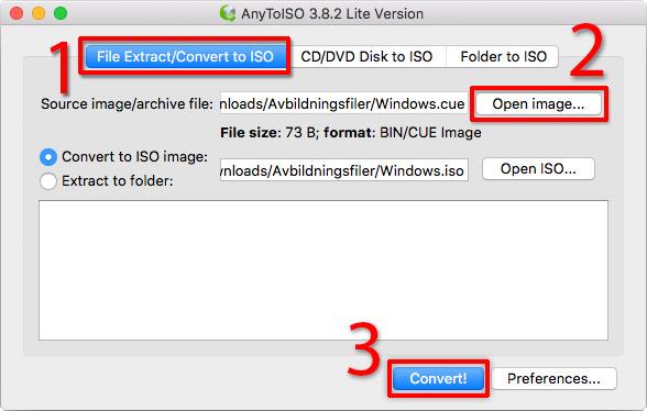 Mac - Konvertera BIN CUE NRG - AnyToISO